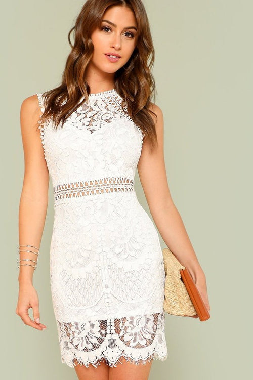 Women's White Lace Cut Out Mini Party Weho Dress | Love Me Trender