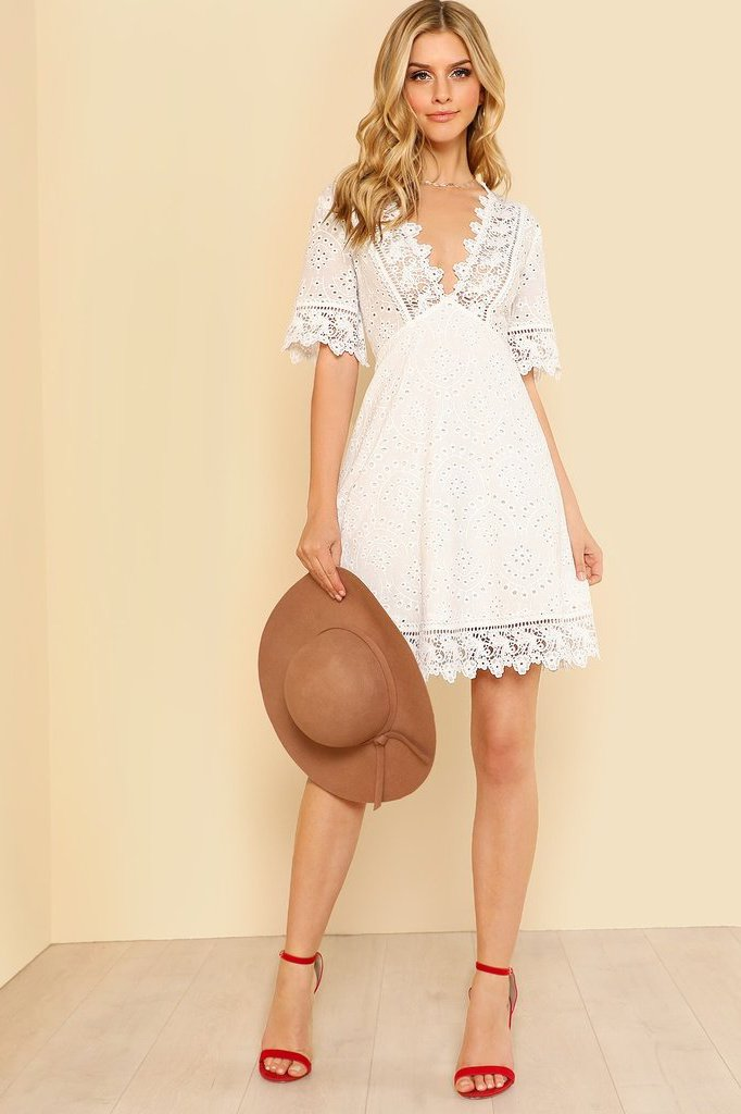 Women's Fit and Flare A Line White Embroidered Dress | Love Me Trender