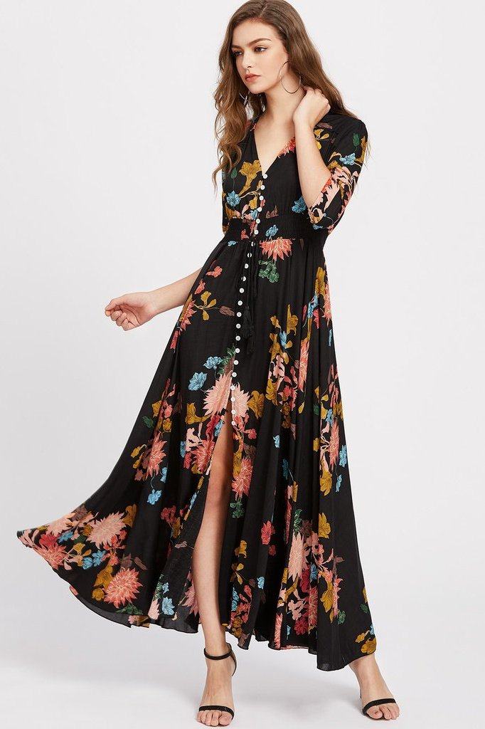 Women's Multicolor Button Down Maxi Dress | Love Me Trender