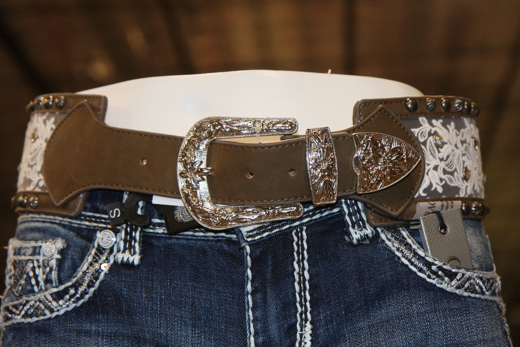 Ladies Leather and Lace Decorative Belt