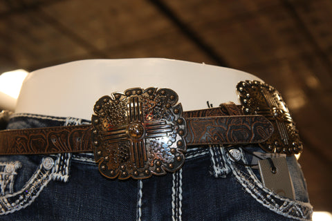 Ladies Leather and Decorative Squares Belt
