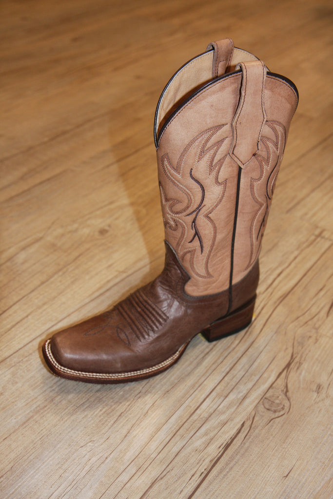 Circle G Brown and Tan Square Toe Boot