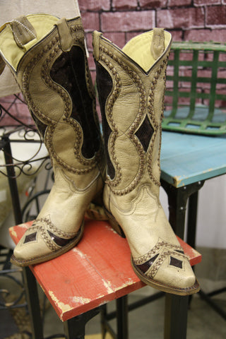Corral Diamond Inlay Cowgirl Boots-Snip Toe