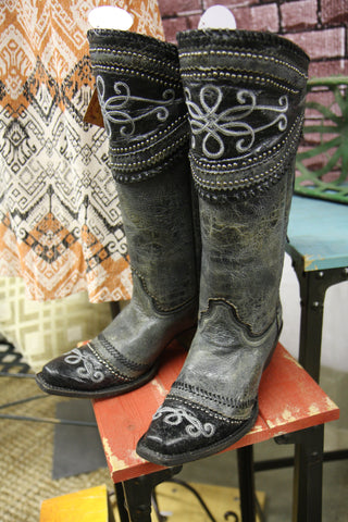 Corral Black/Gray Wide Collar & Studs Lace Up Western Boots