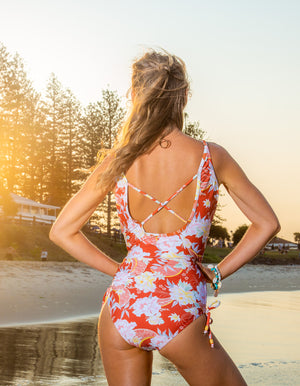 Andalucia Cintamani one piece swimsuit in Rust floral