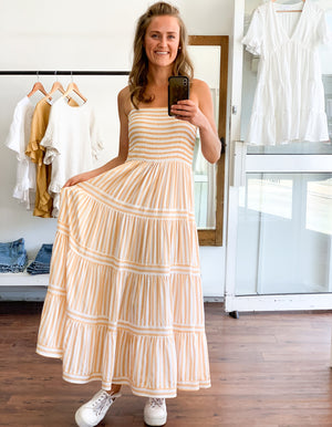 Sienna maxi dress in Yellow/White stripe