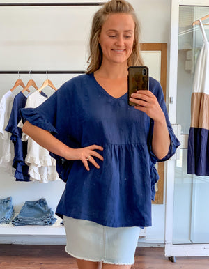 Harley linen top in Blue