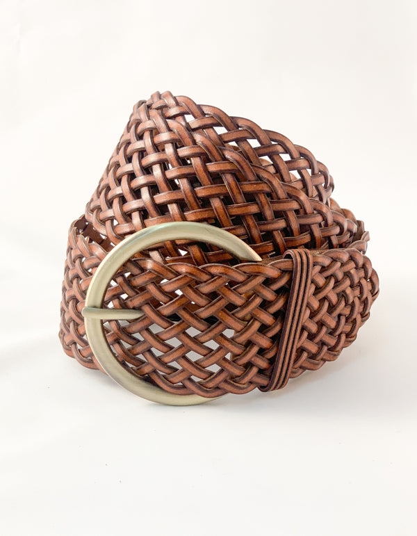 Cleo woven belt in Tan