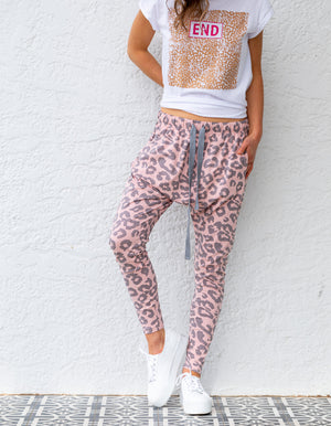 Mila leopard jogger pant in Blush and Grey