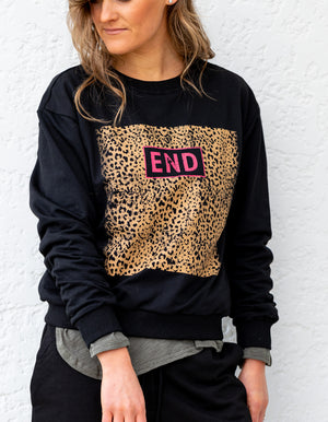 The End leopard sweater in Black
