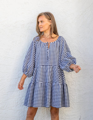 Jaye gingham dress in black and white