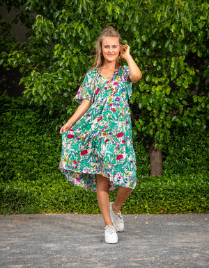 Skyla dress in Green floral