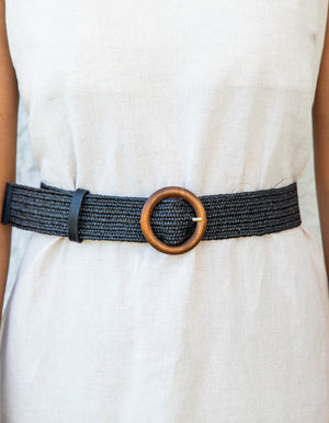 Athens woven belt in Black