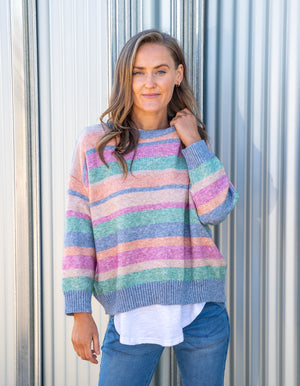 Andes knit jumper in Multi stripe