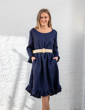 Edwina linen dress in Navy