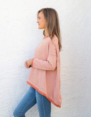 Hunter stripe jumper in Terracotta