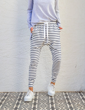 Billie stripe jogger pant in White