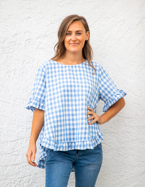 Louella gingham top in Sky Blue/White linen