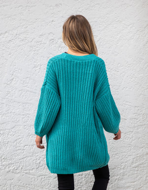Lucy cardigan in Deep Aqua