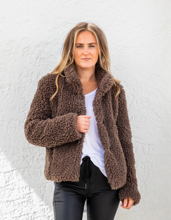 Bailey teddy jacket in Chocolate