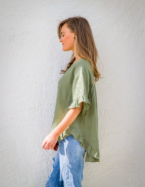 Show Off top in Khaki linen