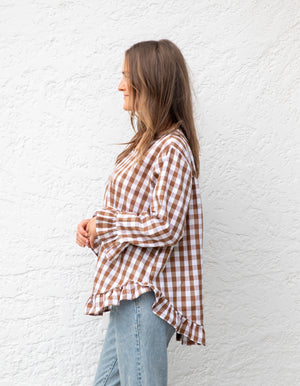 Grace top in Brown & White gingham
