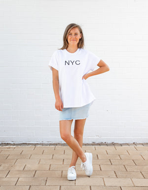 NYC printed top in White