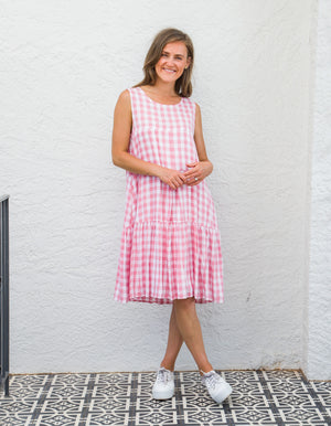 Matilda gingham dress in Pink/White
