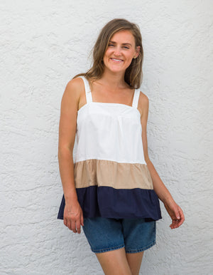 Kirrily top in White/Beige/Navy
