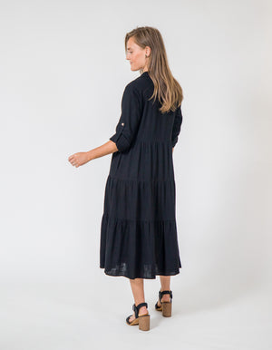 Sunday linen dress in Black