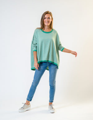 Hunter stripe jumper in Sea Green