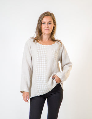 Kelly linen top in Beige