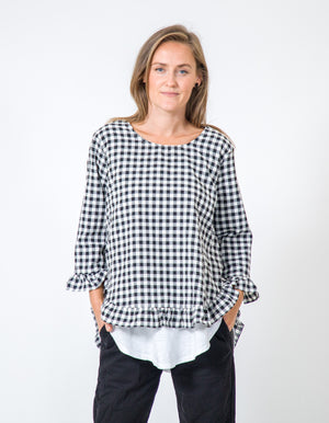 Maggie top in Black gingham