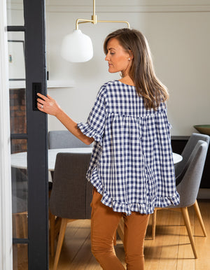 Louella gingham top in Blue/White linen