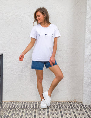 NYC embroidered tee in White