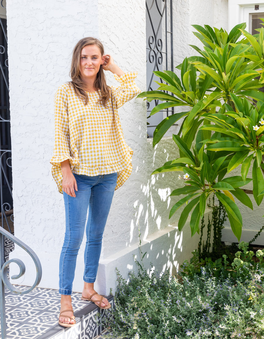 Maggie top in Mustard gingham