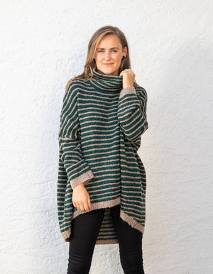 Monika jumper in Green stripe