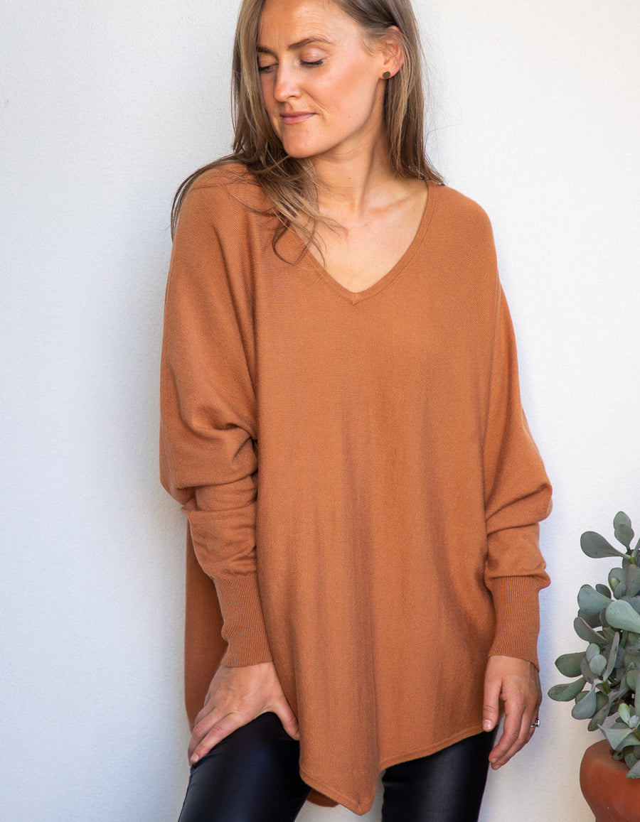 Zoe knit jumper in Tan