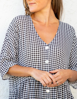 Sparrow gingham dress in Black & White