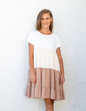 Natalie dress in White, Cream & Beige