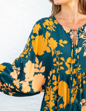 Courtney dress in Teal & Mustard print
