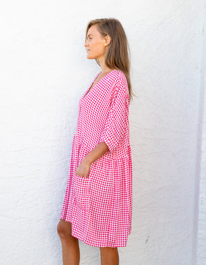Sparrow gingham dress in Hot Pink