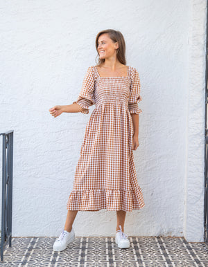 Penny dress in Tan gingham