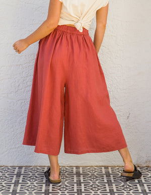 Laurie linen pants in Brick