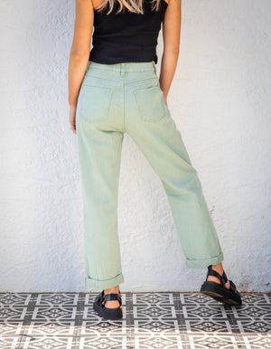 June rollover denim jeans in Sage