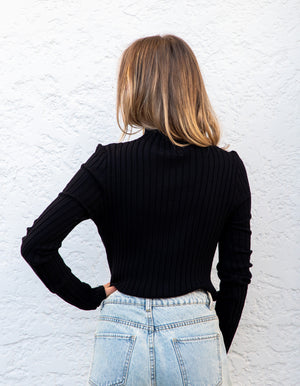 Donna fitted ribbed jumper in Black
