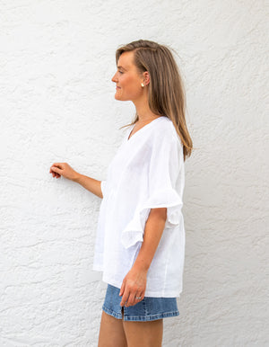 Harley linen top in White