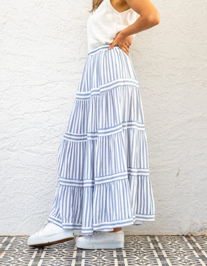 Sienna maxi skirt in Blue stripe
