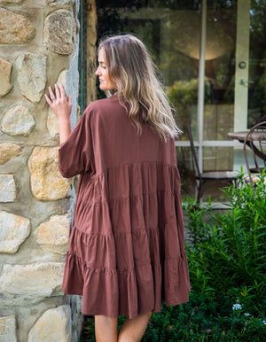 Ainsley cotton dress in Chocolate
