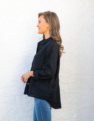 Charlie linen shIrt in Black